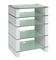 Blok Stax 810 - Stereomøbel 5 hyller - White Gloss / Etched Glass