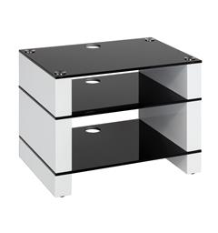 Blok Stax 450 - Stereomøbel 3 hyller - White Gloss / Black Glass