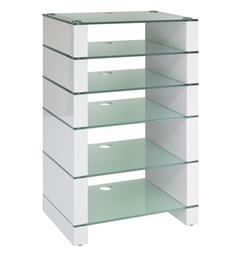 Blok Stax 960 - Stereomøbel 6 hyller - White Gloss / Etched Glass
