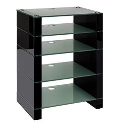 Blok Stax 810 - Stereomøbel 5 hyller - Black Gloss / Etched Glass