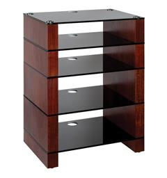 Blok Stax 810 - Stereomøbel 5 hyller - Walnut / Black Glass