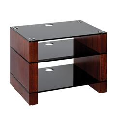 Blok Stax 450 - Stereomøbel 3 hyller - Walnut / Black Glass